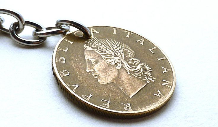Italian, Purse charm, Vintage charm, Coin charm, Vintage keychain, Italian keychain, Gifts under 20, Coin jewelry, Coins, Charm, Italy, 1957 by CoinStories on Etsy
