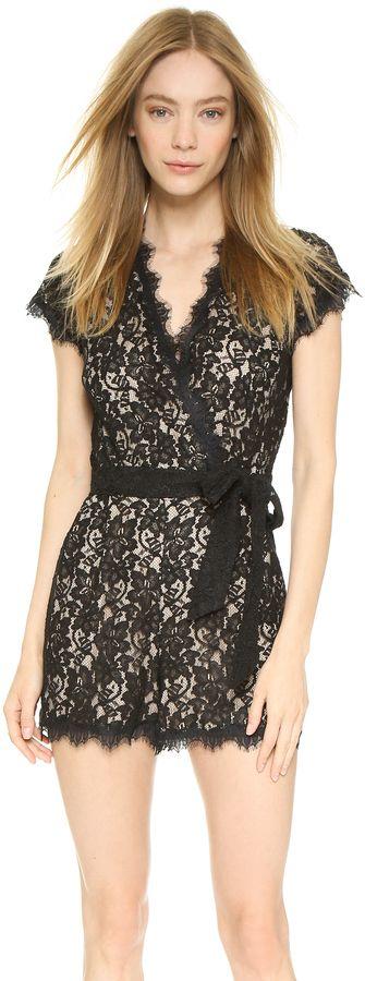 $498, Diane von Furstenberg Purdette Romper. Sold by shopbop.com. Click for more info: https://lookastic.com/women/shop_items/285325/redirect