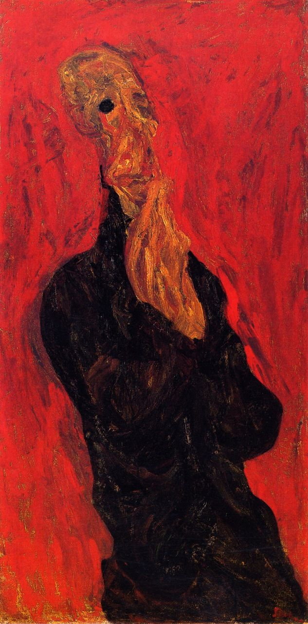 chaïm soutine(1894-1943), praying man c. 1921. oil on canvas, 127.6 x 63.5 cm. private collection http://www.the-athenaeum.org/art/detail.php?ID=56635