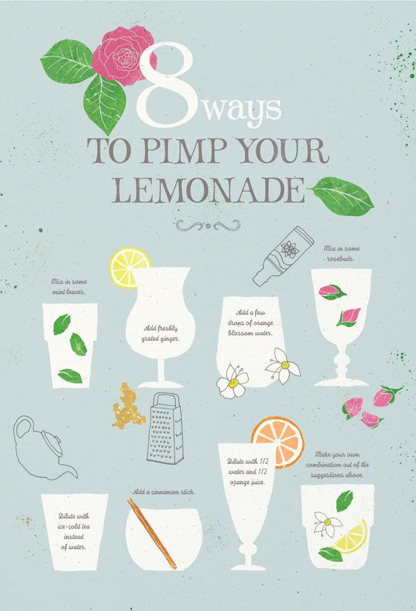 Lemonde - The Pimps  Liven up your lemonade!   • Add a few fresh mint leaves.   • Grate had fresh ginger in your glass.   • Add a few drops of orange blossom water.   • Dilute with iced tea instead of water.   • Mix some dried rosebuds by your lemonade.   • Add a cinnamon stick.   • Dilute with 1/2 water and 1/2 orange juice.   • Create your own combination of the above suggestions.