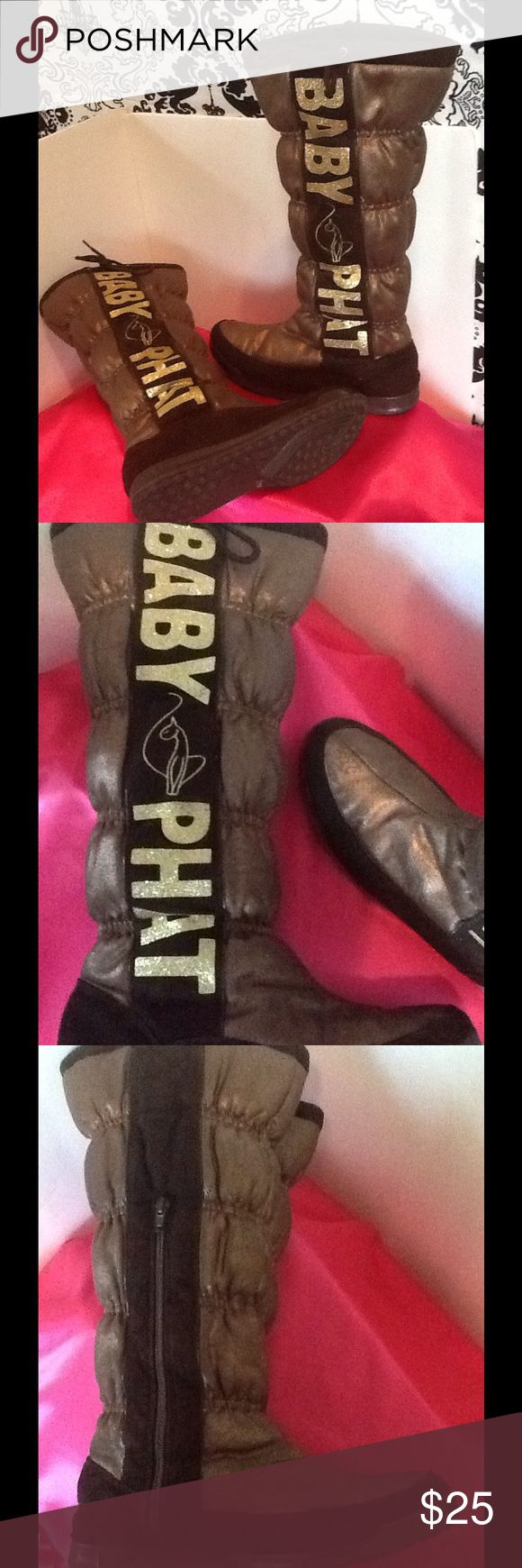 Baby Phat Boots (Used) Baby Phat Boots Brown with gold lettering. Baby Phat Shoes Winter & Rain Boots