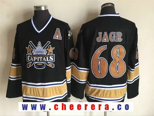 ... Mens Washington Capitals 68 Jaromir Jagr 2000-01 Black CCM Vintage  Throwback Jersey ... 84f13d334