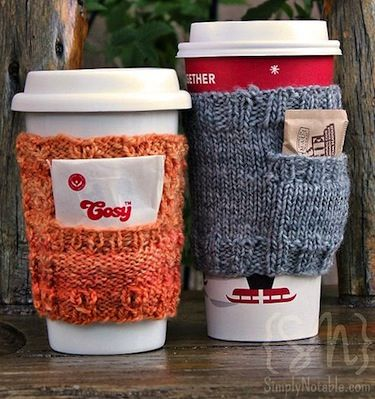 14 more coffee sleeves or coffee cozies you csn easily make to keep your coffee or other hot drink good and toasty.  Great idea for gifts too!