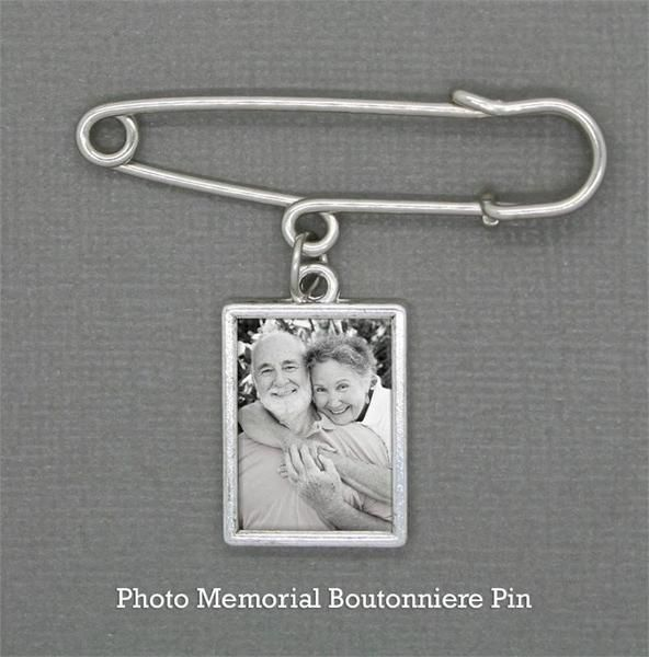Your groom can wear this special Boutonniere Memorial Photo Charm with a 14.50 x 20.10mm photo area on your wedding day to remember and honor loved ones. Includ