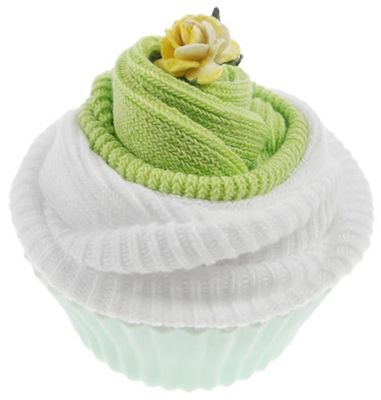 This practical baby gift is a sweet way of sending baby wishes, and would make a lovely baby shower favor or gift.  Two pairs of soft cotton baby socks (size 0 - 0-6 months) are wrapped and presented in a reusable silicone cupcake case.