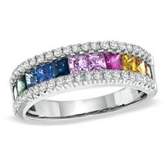 Multi-Color Princess-Cut Sapphire and 1/4 CT. T.W. Diamond Band in 14K White Gold - Size 7 zales.com