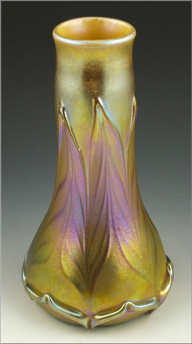 Marvelous Quezal Vase W Leaf Pattern Ebay Art Glass