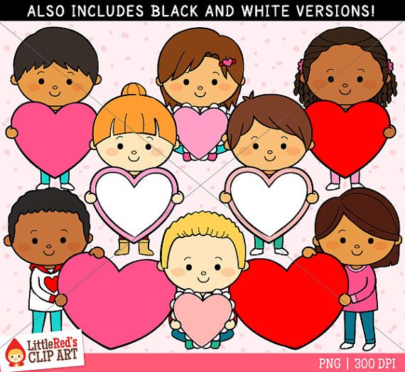 This Is A Cute Collection Of Valentines Day Themed Clipart Featuring 16 Graphics 8 In Color 8 In Black And Whit Valentines Day Clipart Clip Art Valentines