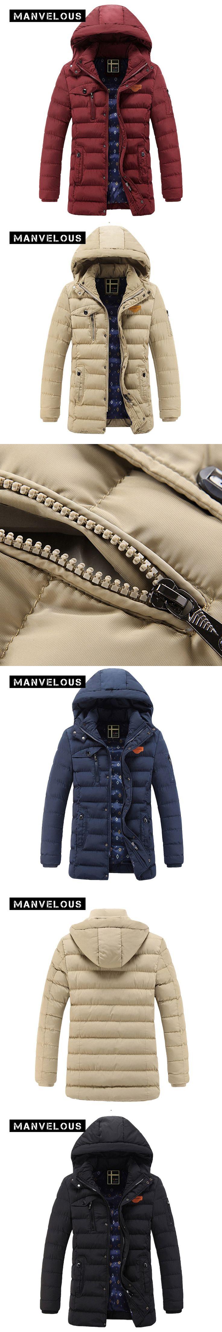 Manvelous Winter Parkas Jacket Men European Style Fashion Casual Slim Solid Pocket Zipper Hooded Mens Winter Down Jackets Coats