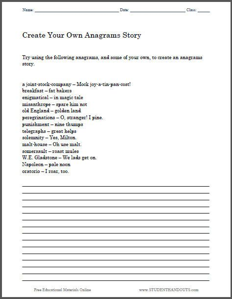 create your own anagrams story here 39 s a free printable worksheet to help students get started. Black Bedroom Furniture Sets. Home Design Ideas