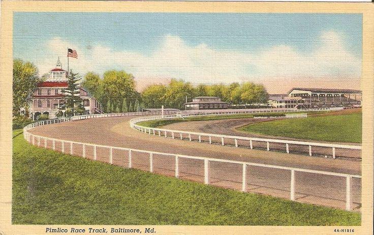 1943 FREE Soldier Mailed Pimlico Race Track Michigan Linen Color Postcard