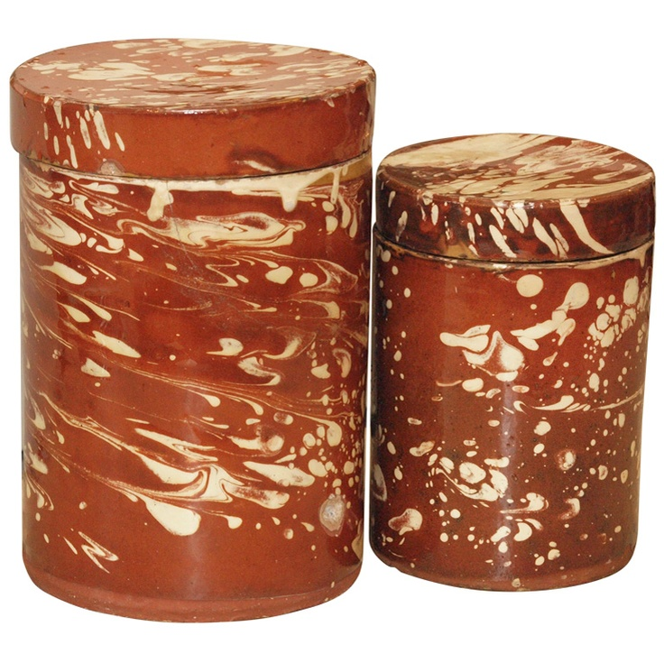 Two 19th Century Italian Lidded Marbleized Cannisters