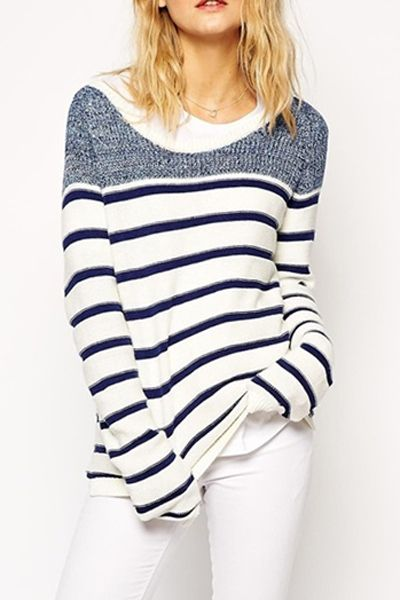 "Cute maritime look ::: Long Sleeve Striped Jumper #sailing #sweater #stripes ––– Get a 10% Discount: ""OHMYDIOR"""