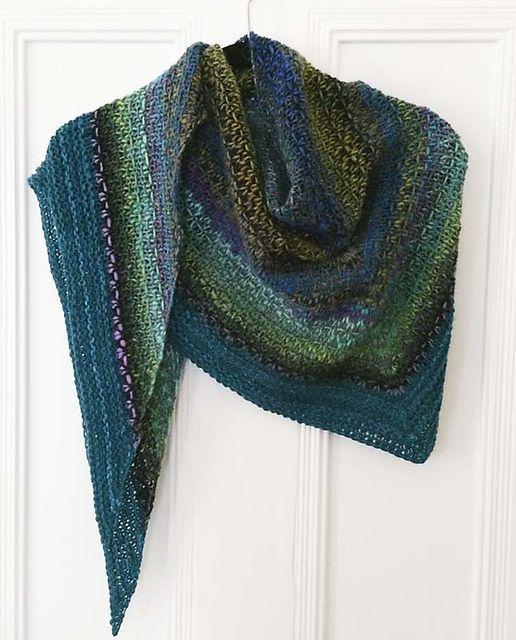 """Knit on size 9 needles. """"Ravelry: Noro Woven Stitch Shawl pattern by Z apasi - free Ravelry download"""""""