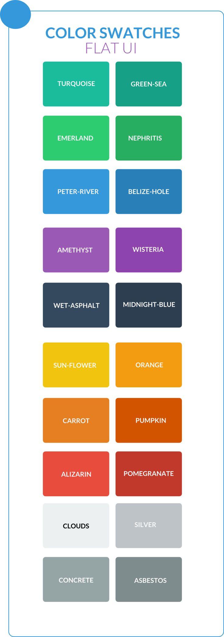 Palette de couleurs pour FLAT DESIGN Réalisés à partir des couleurs proposés par http://designmodo.github.io/Flat-UI/ LESS COLOR @Lisa Stewart: #1ABC9C; @Brandon Green-SEA: #16A085; @EMERLAND: #2ECC71; @NEPHRITIS: #27AE60; @Peter Thomas-RIVER: #3498DB;  more here => https://www.facebook.com/lordferadesign/posts/554265641283082