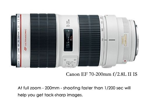 Sharper images with this simple rule: Don't shoot any slower than the focal length of your lens for sharp images: Usm Telephoto, 70200Mm F28L, Ef 70200Mm, Zoom Lens, Canon Slr, Ii Usm, Canon Ef, Telephoto Zoom, Slr Camera