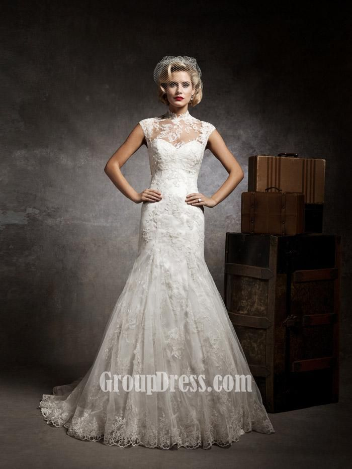 strapless sweetheart mermaid lace and tulle vintage wedding dress