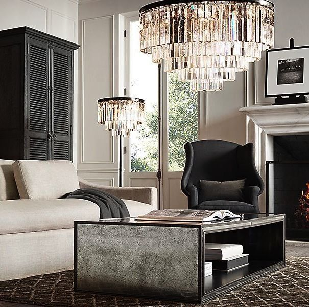 New Odeon Style Crystal Pendant Chandelier Living Dining Bedroom Bronze Light #Contemporary #Modern #Traditional #Art_Deco #French_chandelier #odeon_pendant #modern_crystal_chandelier