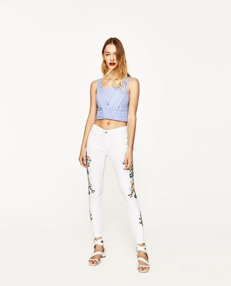 ZARA - WOMAN - MID-RISE JEANS WITH SIDE FLORAL EMBROIDERY