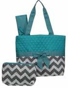 Machine Embroidered Quilted Diaper Bag- Gray Chevron Print with Blue Trim. Includes FREE Personal Embroidery