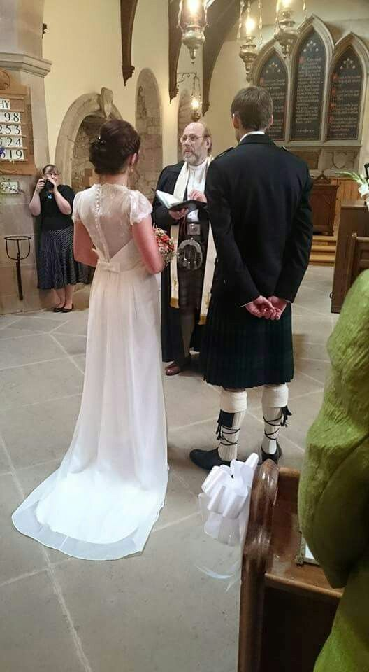 Scottish wedding with kilts and lace back wedding dress