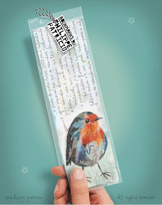 BOOKMARK // ROBIN BIRD (6 x 20cm) small edition by the artist // ©philippe patricio / all rights reserved