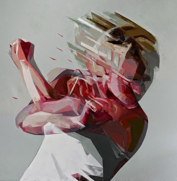 This piece, by Simon Birch, captures raw anger with the use of intense shades of red, contrasting with the innocence of whiter shades featured. The blurred figure suggests rage, fitting in perfectly with the angry red mentioned earlier, as well as signalling movement.