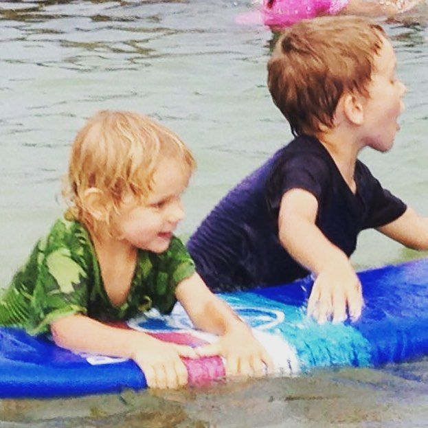 My bubbas made some friends. With surfboards. #BeachLife #SurfIsUp #MyMummyCan