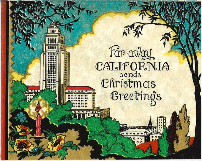 L A Public Library On Twitter California Christmas City Hall Holiday Cards
