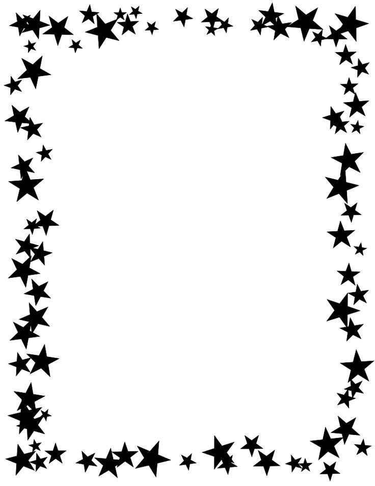 Free Printable Star Border | Black and White, high contrast stars design.