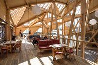 Noorse berghut Sognefjellshytta: knap staaltje kunst