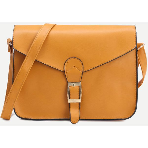 Yellow Faux Leather Flap Strap Buckle Bag (670 INR) ❤ liked on Polyvore featuring bags, handbags, shoulder bags, buckle purses, buckle handbags, orange handbags, yellow purses and orange purse