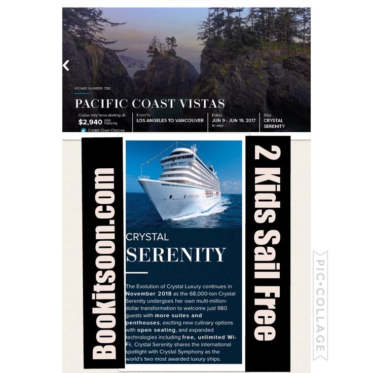 Cruising from Los Angeles to Vancouver Canada hurry for 2 for 1 deals.  www.bookitsoon.com  Sail aboard the Crystal Serenity June 9-19, 2017 $2,940 both for $3,940. #cruiseship #crystalserenity #luxurycruise #bookitsoon #losangeles #vancouver #canada #lawofattraction #follow4follow #vacation #travel #travelagent #anniversary #honeymoon #vacation #HWW