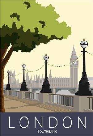 LONDON. Art print Travel/Railway Poster of London Southbank. A4, A3, A2 in… More
