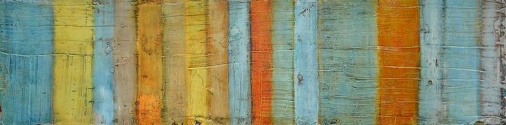 coloured strips, 33 x 140 x 5 cm, Mischtechnik auf Leinwand