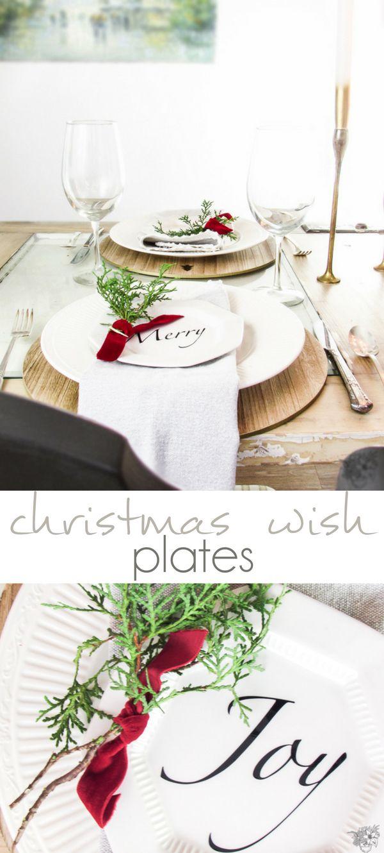 DIY Christmas Wish Plates, DIY Christmas Quote Plates, DIY Christmas Appetizer Plates, DIY Holiday Plates, DIY Holiday Quote Plates