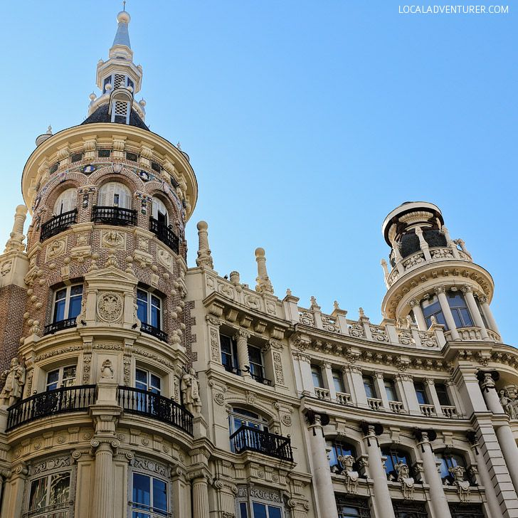 Admire the Architecture along Gran Via (21 Remarkable Things to Do in Madrid Spain) // localadventurer.com