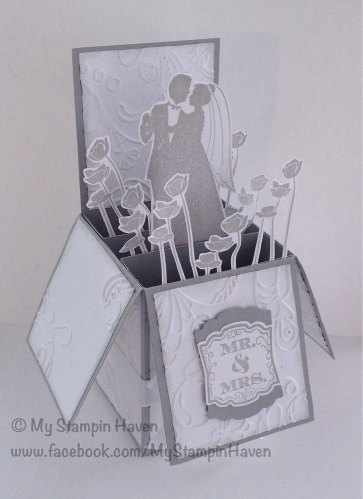 Marry Me, Label Love, Artisan Label punch, Elegant Lines embossing folder wedding card in a box