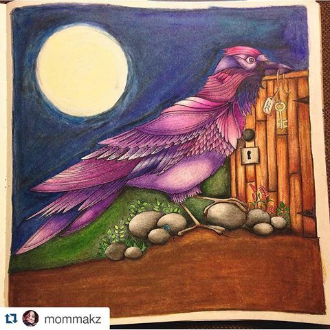 Pássaro roxo e fundo maravilhoso! #Repost @mommakz with @repostapp  ・・・#desenhoscolorir  #johannabasford #florestaencantada  #enchantedforest #jardimsecreto