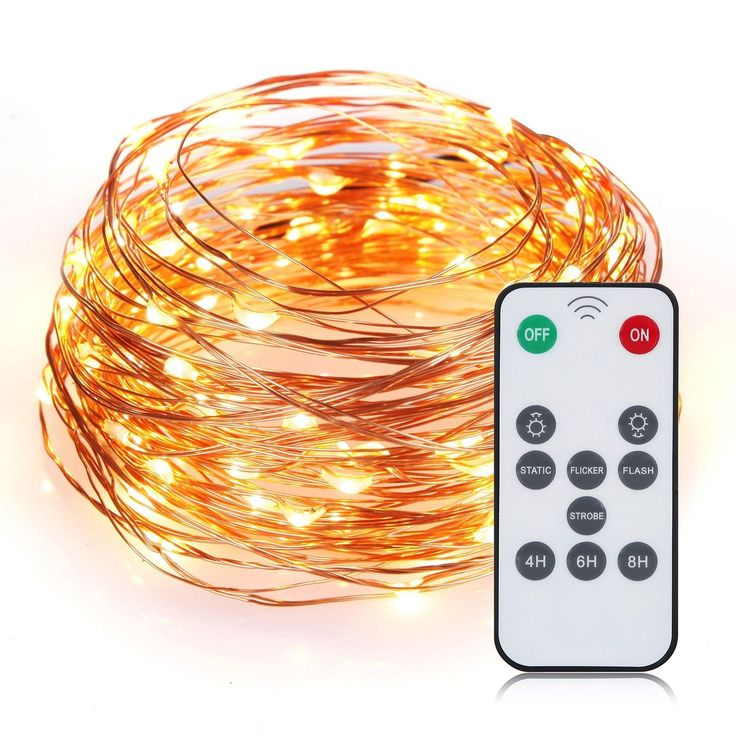 SENQIAO 4 Modes 33ft/100LEDs Remote Controlled Led String Starry Lights Worm ...