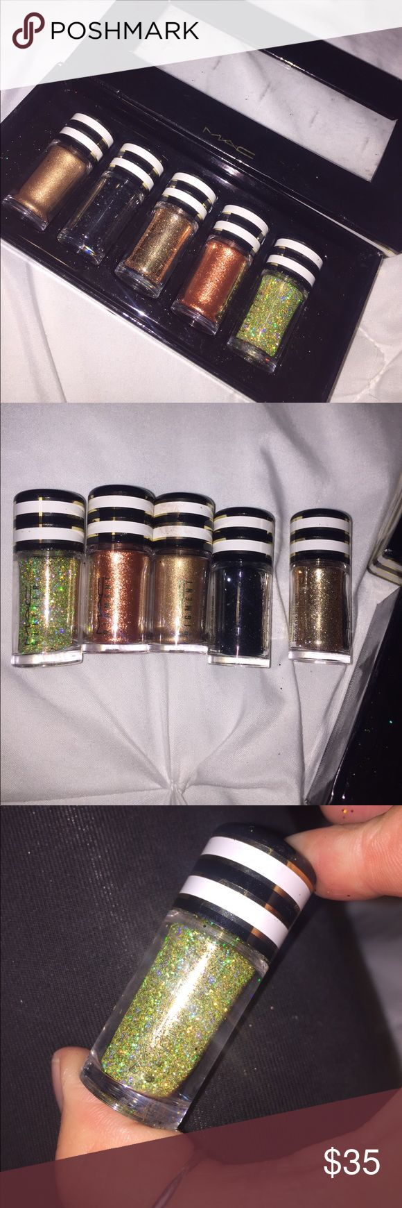 Limited Edition MAC Holiday Glitter Pigment Set✨✨ Three glitter pigments and two shimmer pigments. Colors are : 3D Gold glitter  , Copper sparkle , Gold, Museum Bronze, and Black ✨✨ only used the 3D gold glitter once. All others are un used. Pigments this size usually $10 each. Great price for the set ! MAC Cosmetics Makeup Eyeshadow