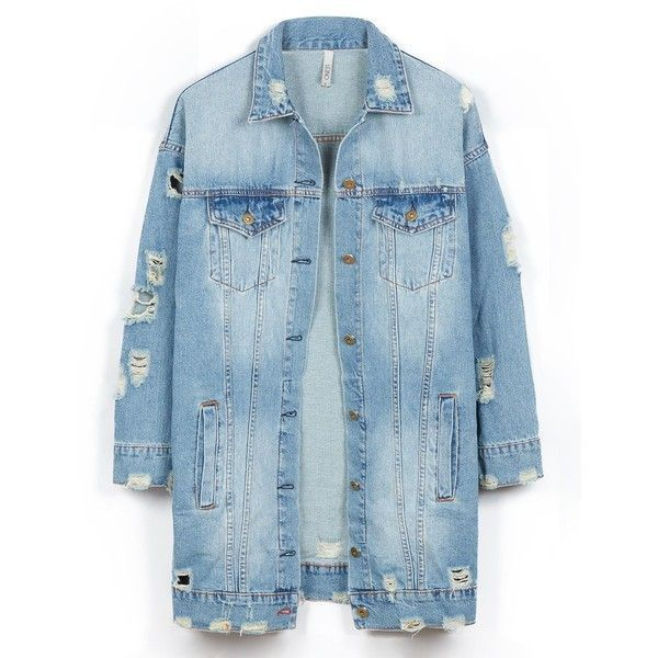 LE3NO Womens Vintage Oversized Distressed Ripped Denim Boyfriend... ($46) ❤ liked on Polyvore featuring outerwear, jackets, denim jacket, blue jackets, vintage jackets, vintage denim jacket and boyfriend jacket