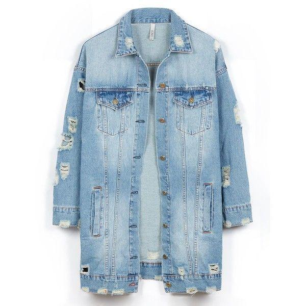 LE3NO Womens Vintage Oversized Distressed Ripped Denim Boyfriend... (145 BRL) ❤ liked on Polyvore featuring outerwear, jackets, oversized denim jacket, vintage jackets, blue jackets, vintage denim jacket and boyfriend jean jacket