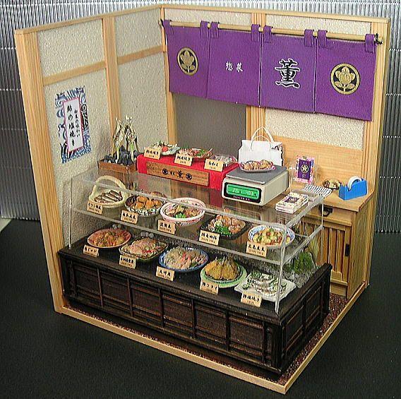 """といといのミニチュア【和の惣菜屋さん 1】/ Japanese deli showcase miniature from """"Toitoi."""""""