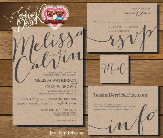 Printable Wedding Invitation Suite (w0227), consists of invitation, RSVP, monogram and info design in hand lettered typography theme.