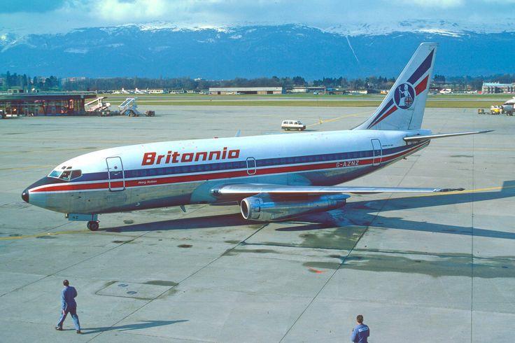 Britannia Airways Boeing 737-200; G-AZNZ@GVA, February 1982/ DWB