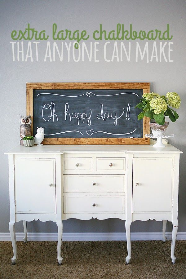 LOVE this look in an entryway. Bonus: extra large chalkboard tutorial.