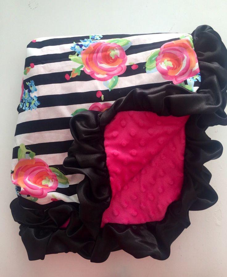 Black and white stripes baby blanket | roses minky blanket | baby and toddler blanket | ruffles minky blanket | by GoodnightDoll on Etsy https://www.etsy.com/listing/482744085/black-and-white-stripes-baby-blanket