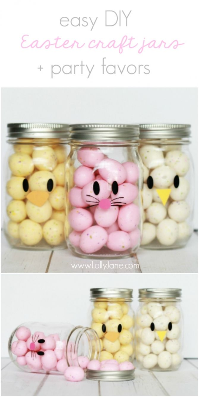 Adorable and EASY mason jar idea! Apply little faces to clear mason jars and fill with colorful candies to make quick Easter mason jar craft favors! Sooo cute!: