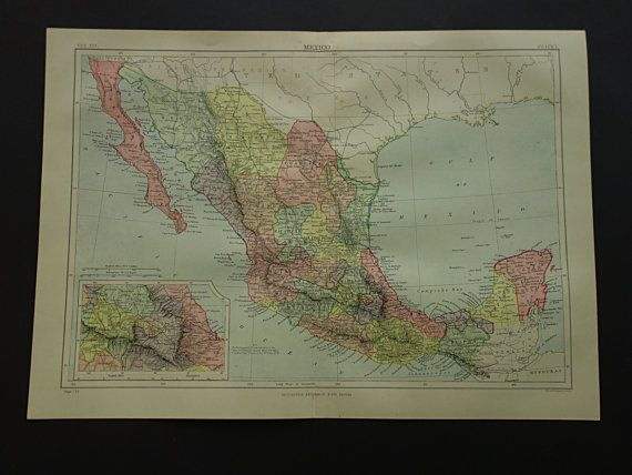 Antique Mexico map 1883 original old map of by VintageOldMaps